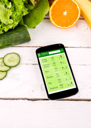 Counting calories in smartphone. Concept of app for healthcare