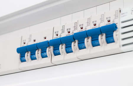 fusebox: Close-up of electrical fusebox Stock Photo