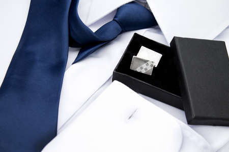mans shirt: Mans white shirt with blue tie and cufflinks