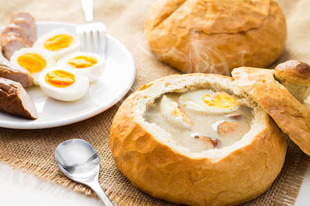 Polish Easter soup. Cream soup in bread Stockfoto