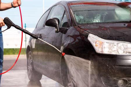 Washing the car at the carwash