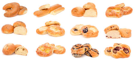 bread rolls: Collection of various types of breads, rolls and buns Stock Photo