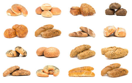 sliced: Collection of various types of breads. Isolated over white background Stock Photo