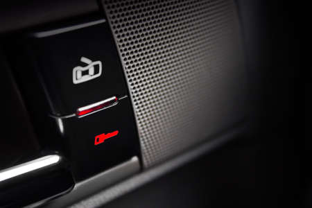 car lock: Car lock button and status light. Car security concept