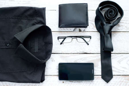 accesories: Mans latest trends and fashion accesories. Composition on white wooden board