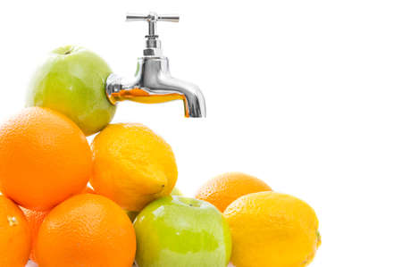 orange juice: Conception of fruits with metal tap in apple on white background