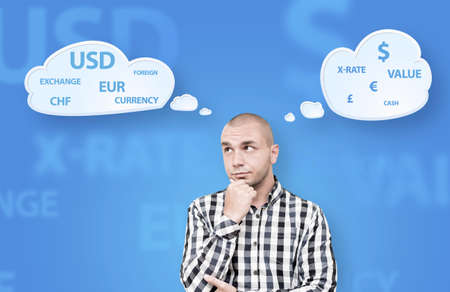 decission: Investor is about to make a decission which currency should be chosen to locate savings Stock Photo