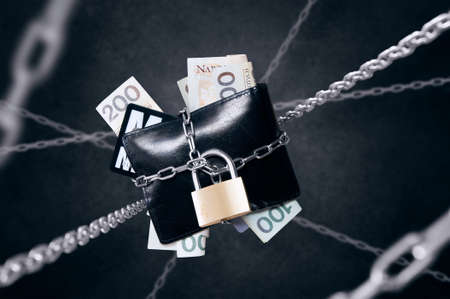 Chained wallet. Conception of finance security and protection