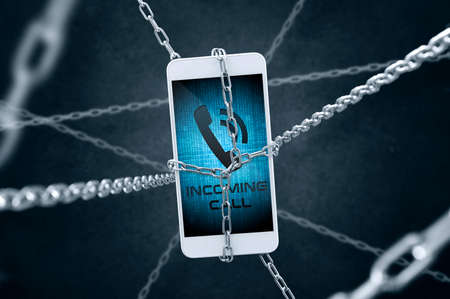 security symbol: Chained smartphone with incoming call symbol. Conception of data security