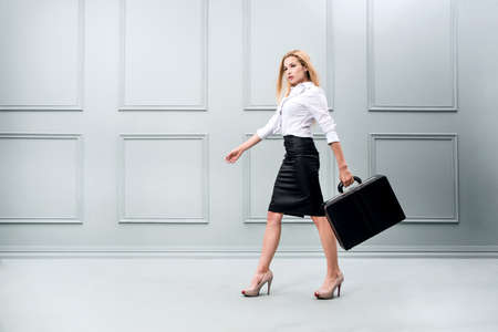 Business woman carrying a briefcase. Concept of a woman in a high position