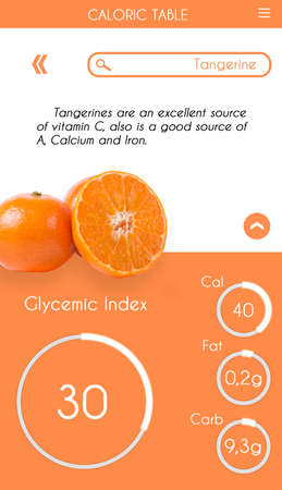 Glycemic index application for smartphone screen Banco de Imagens - 129909227