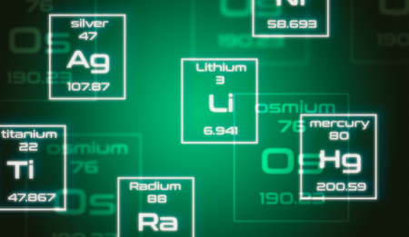 Chemistry symbols from Mendeleevs periodic table on green background