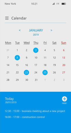 Calendar and business organizer app screen for smartphone