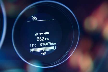 Fuel car range information at dashboard