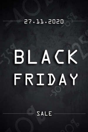 Black friday info banner for 2020 year in vertical orientation Stock Photo