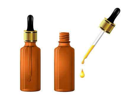 Vector beauty oil and serum in a bottle with dropper. Care for hair, face, hands and body. Aromatherapy, relaxation, wellness, beauty salon,to design posters, banners posters stickers