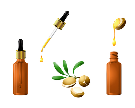 vector argan oil natural organic cosmetic serum bottle with dropper and nuts. Care for hair, face, hands and body. Aromatherapy, relaxation, wellness, beauty salon