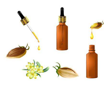 Vector cosmetic jojoba oil is a natural serum bottle with dropper , fruits and flowers. Hair care, face, hands and body. Aromatherapy, relaxation, Wellness centre, beauty salon