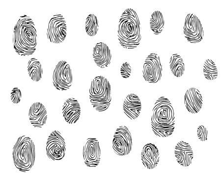 Set of fingerprints black outline on white background.