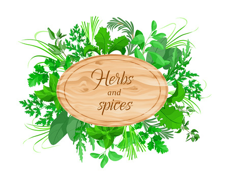 Herbs and spices cooking natural product vector logo round wooden background. For restaurants, markets, shops design element of the logo banner poster Pricelist