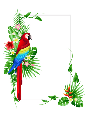 Tropical leaves and flowers with a parrot. Color illustration to design banners postcards posters. Vector EPS 10
