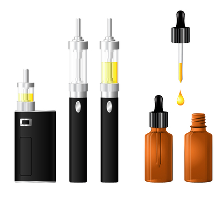 Electronic cigarette vector set.