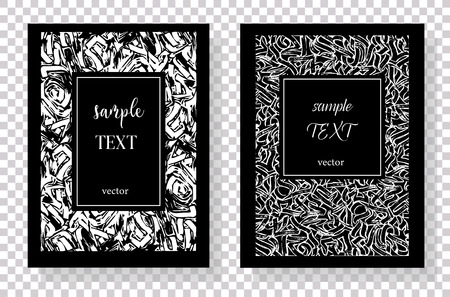 Hand drawn textures made with pen.Invitation template, poster, banner, cover.  Vector abstract background with copy space