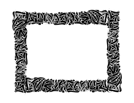 Hand drawn black frame on white background. Grunge background.Pen and ink. Abstract vector template.