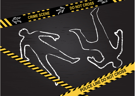Crime scene - Do not cross. Chalk outline of the victims on a black background.  Vector illustratio