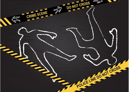 Crime scene - Do not cross. Chalk outline of the victims on a black background.  Vector illustratio