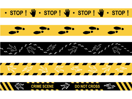 Police line. Do not cross. Stop. Crime scene.Chalk silhouettes, traces. Black and yellow stripes. Vector illustration isolated on white background