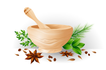 Mortar and pestle, herbs and spices. Color illustration as a design element for the menus of restaurants cafes as an element to decorate posters banners flyers. Vector illustration