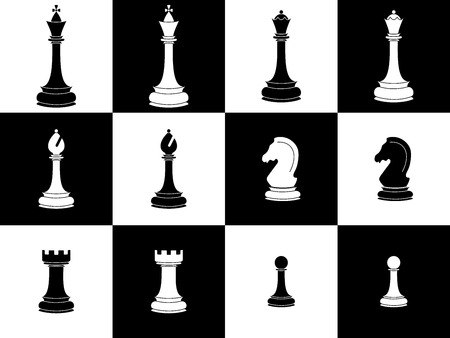 Chess pieces. Icon set white and black chess pieces.Isolated elements. Vector illustration
