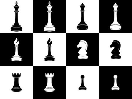 Pezzi degli scacchi. Set di icone pezzi degli scacchi bianchi e neri. Elementi isolati. Illustrazione vettoriale