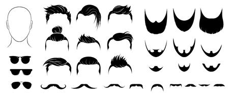 Définissez les coiffures, barbes, moustaches et lunettes pour hommes. Hommes barbus avec barbe, moustache, coiffures de style hipster différentes. Emblèmes, silhouettes, avatars, têtes, icônes, étiquettes. Isolé . Vecteur