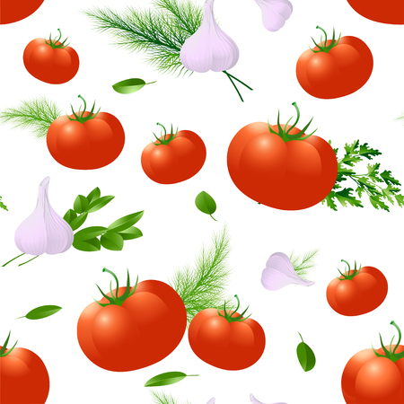 Tomato, spices and herbs. Seamless pattern. Design templates for packaging, labels, posters, wrapping paper. Vector