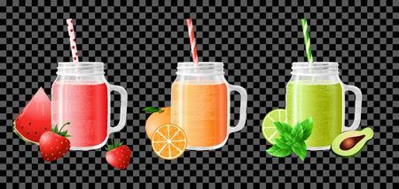 Fruit smoothie in jars with colorful straws. Fresh fruit juice for a healthy diet. Template design of a cafe, bar, kitchen, restaurant. Isolated. Vector illustration