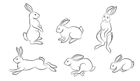 Rabbit. Set of different Rabbit and hare figures. Christmas rabbit, Easter rabbit, Moon rabbit. Isolated black outline on white background. Element of festive design. Vector