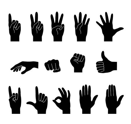 Hand collection.  Set  icons. Different gestures. Isolated black silhouette. Vector