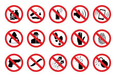 Segnali di divieto. Imposti le icone rosse. Illustrazione di vari cartelli di divieto. In isolamento. Vettore