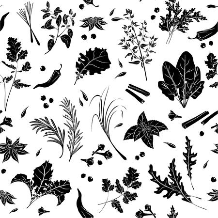 Herbs and Spices Seamless Pattern. Isolated black silhouette on white background. Template for packaging, background, textiles. Vector