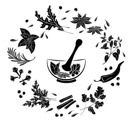 Erbe e spezie in un mortaio. Siluetta nera isolata su sfondo bianco. Menu di ristoranti, caffè. Elemento per decorare manifesti striscioni volantini. Illustrazione vettoriale
