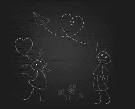Boy and girl with a heart. Cartoon doodle white chalk on black background. Postcard for Valentine's Day. Vector illustration