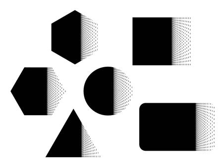 Geometric banner.  Set of abstract shapes  circle, square, rectangle, triangle and hexagon with gradient explosion. Original template design  in black and white. Isolation. Vector