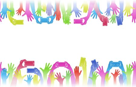 Hands up hold phones. Horizontal banner. Decoration background  from rainbow raised hands. Conceptual illustration for festivals, concerts, social and tolerance public communities, volunteering.  Isolation. Vector illustration