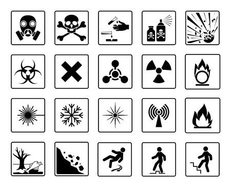 Signe de danger. Ensemble de symboles d'avertissement de danger. Silhouette noire isolée sur fond blanc. Illustration vectorielle