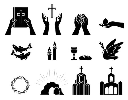 Religious Christian symbols and signs. Set of icons. Crown of thorns, Church, fish, candles, bread and Cup, dove with olive branch, hands holding the Bible, hand holding  Easter egg. Isolation. Vector Standard-Bild - 120981138