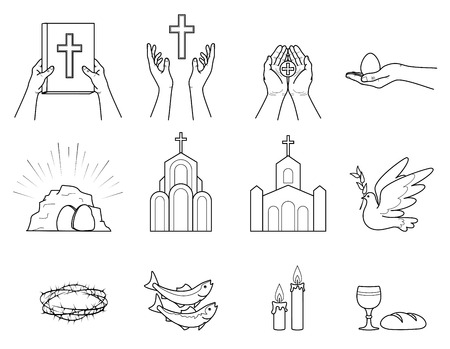 Religious Christian symbols and signs. Set  icons crown of thorns, Church, fish, candles, bread and Cup, dove with olive branch, hands holding the Bible, hand holding an Easter egg. Isolation. Vector Standard-Bild - 120981139