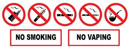 Niet roken. Geen vapen. Stel verbodspictogrammen in. Illustratie van verschillende verbodsborden. Isolatie. Vector