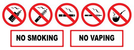 No smoking. No vaping. Set prohibition icons. Illustration of various prohibition signs. Iisolation. Vector Ilustracja